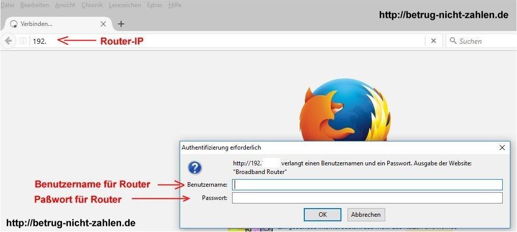 Bildschirmaufnahme von IP, Benutzernahme und Paßwort für einen WLAN-Router